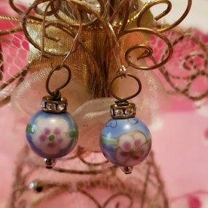 Chinese porcelain handpainted earrings